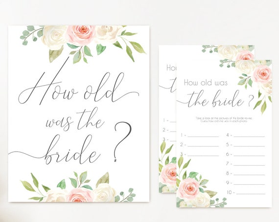 Bridal Shower Game How old was the bride, Editable PDF Instant Download, Bridal Shower Blush Pink White INSTANT DOWNLOAD Wedding Shower Game