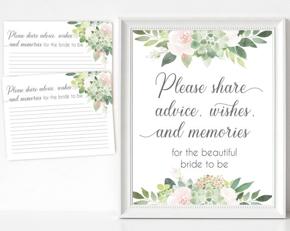 Advice, wishes and memories for the bride, Succulent Greenery Dusty Rose Flower, Advice, wishes and memories card and sign, instant download