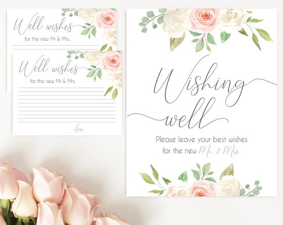 Wishing well sign, Blush White Pink, well wishes cards and sign, Bridal Shower Wishes for the new mr mrs card template, instant download