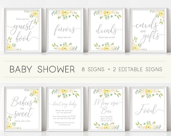 Baby Shower Sign, Baby Shower Sign Bundle, white and yellow Floral, Editable Sign, Baby shower Decor Digital Print, Baby shower unisex