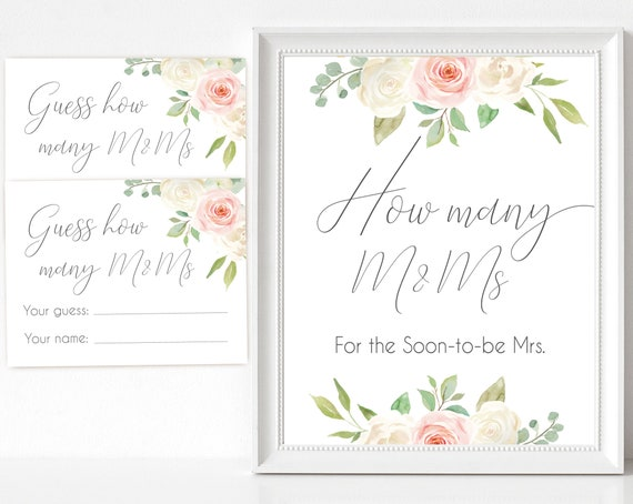 How many M&Ms for the soon to be Mrs, Blush White Pink How many cards and sign Bridal Shower How many card, instant download