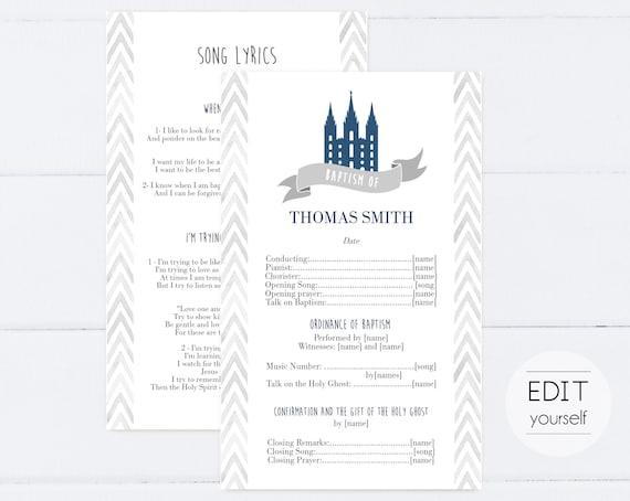 Baptism Program, Editable Program, LDS Printable Digital Handout boy Baptism, Navy, Grey, watercolor, Baptism Template, Corjl