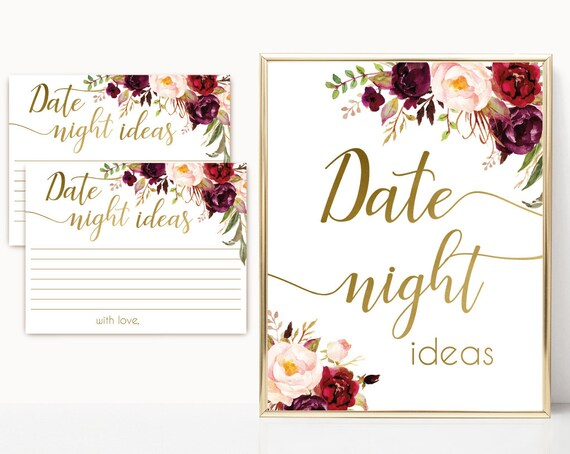 Date night ideas, Marsala Burgundy Blush Floral and Gold, date night cards, date night sign, Instant Download