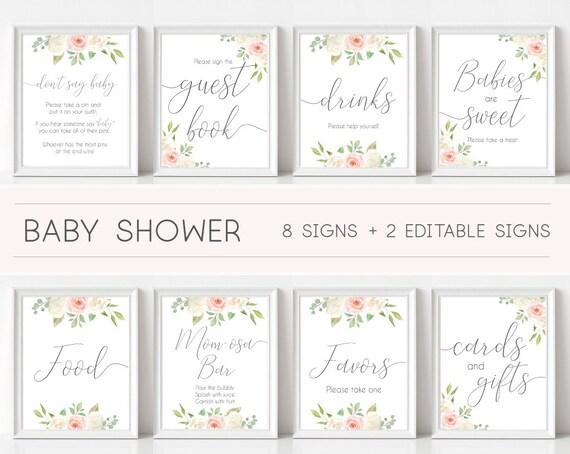 Baby Shower Sign, Baby Shower Sign Bundle, white blush pink Rose Floral, Editable Sign, Baby shower Decor Digital Print