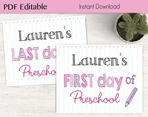 First Day of School / Last Day of School Chalkboard Print, Editable PDF, Art Print, Chalkboard Sign, Kindergarten, Grade School, whiteboard