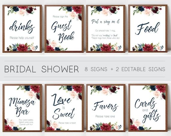 Bridal Shower Sign Set, Bridal Shower Sign Package Bundle,Printable Bridal Tea Blue Navy Marsala Burgundy Blush Floral Sign Editable Sign