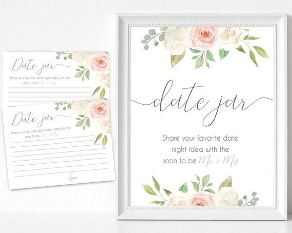 Date Jar sign, Blush White Pink, Date Night Advice Card, Date Night Advice Sign, Wedding Shower Decoration, Bridal Shower Game