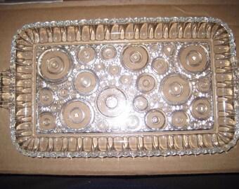 Vintage 1950's Glass Snack Tray Boopie Raindrop