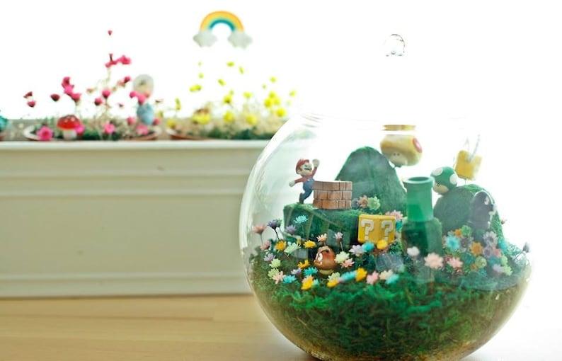 Mushroom Bricks Bowser Lasts 10 Years Magic Garden Real Magic Frozen Flowers Giant Huge XL Round Vase Pot Super Mario Bros Figure