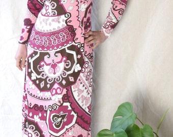 3f3d933925 Emilio Pucci 70s dress Stunning Vintage Maxi dress Geometric Psychedelic  print dress Pucci fabric Groovy Boho dress small medium   K1