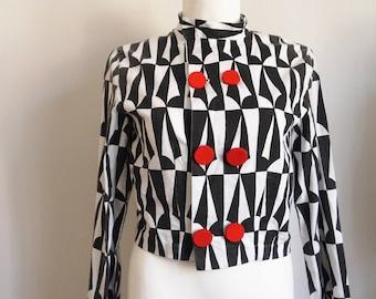 Rare 60s jacket 60s Vintage Jacket Black and White Carnival Party Psychedelic Print Jacket Pin Up Mod Jacket Cropped jacket large
