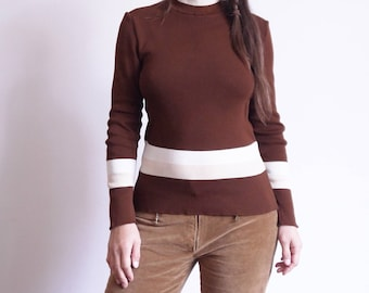 70s turtleneck sweater Vintage 70s sweater Brown Striped long sleeve hippie Hipster Street Style medium / C1
