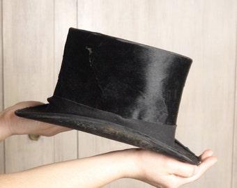 86b1bcdf32c 1800s 1900s Antique Top Hat Vintage Top Hat Gentleman Dandy Cosplay  Steampunk Top Hat Black Hat Extra Best Quality London