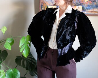 1950s Vintage Black Velvet Fitted Jacket with pearl beaded and rhinestone lapels SM