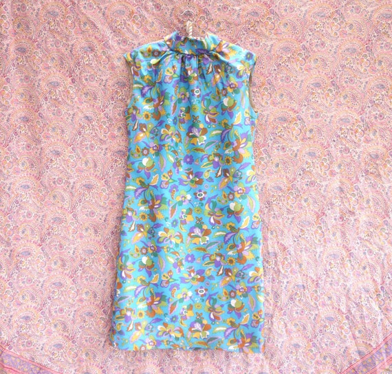 Vintage dress 70s dress midi medium blue dress 1960s paisley K1 party Mod sleeveless size 60s silk dress Casual print EZXW6EqCw
