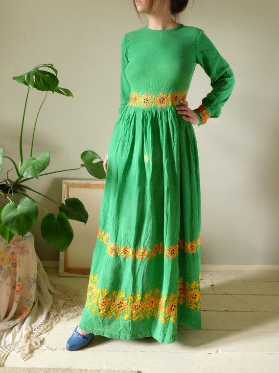 dress Vintage 70s boho Rare sleeve grass 1970's embroidered dress B1 long maxi green gauze size festival dress hippie medium dress tribal tqErr5x8w