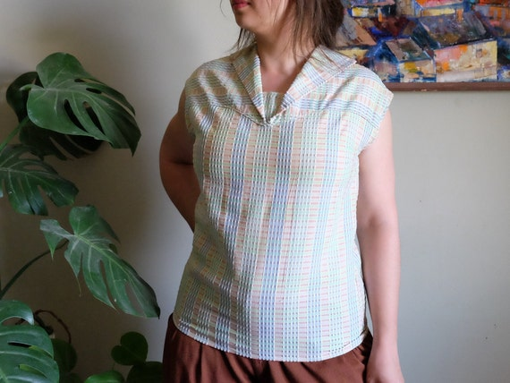 Vintage 1950s blouse Pale blue green embossed Sle… - image 7