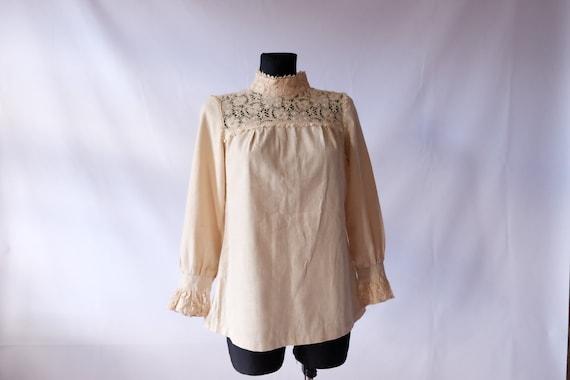 70s blouse 60s 70s Vintage Edwardian Prairie off … - image 6