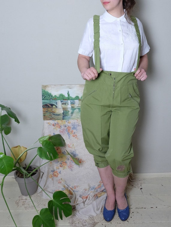 60s pants 60s 70s Vintage olive green overall slee