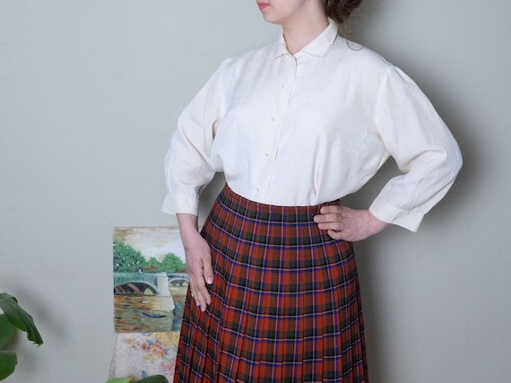 50s blouse 40s 50s Vintage silk blouse off white I