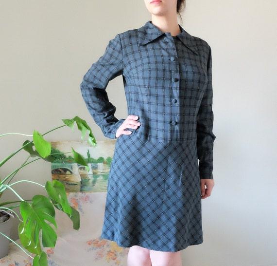 Tartan plaid Vintage 1960s dress Grey black Madras