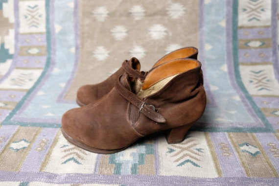 Vintage 30s 40s Boots chocolate brown leather sued