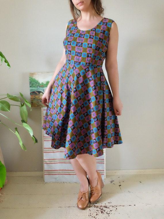 Vintage 1950s 1960s Dress Sleeveless Gingham Barkc