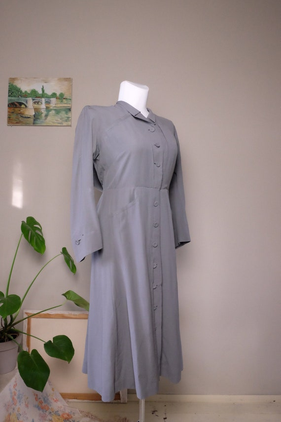 Vintage 1930s 1940s dress solid Grey Gaberdine woo