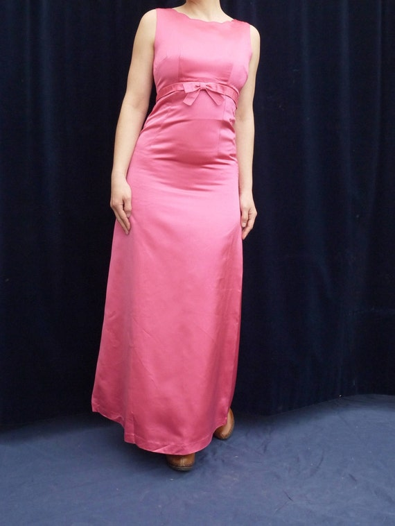 sleeveless casual wedding sweetheart dress neckline dress xsmall empire V1 dress dress satin maxi Vintage 60's waist prom pink 1960's size CfwqAROxw
