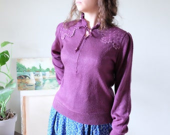 Vintage sweater 70s does 40s sweater purple with embroidery long sleeve made in Italy m