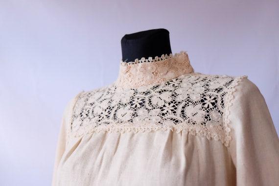 70s blouse 60s 70s Vintage Edwardian Prairie off … - image 1