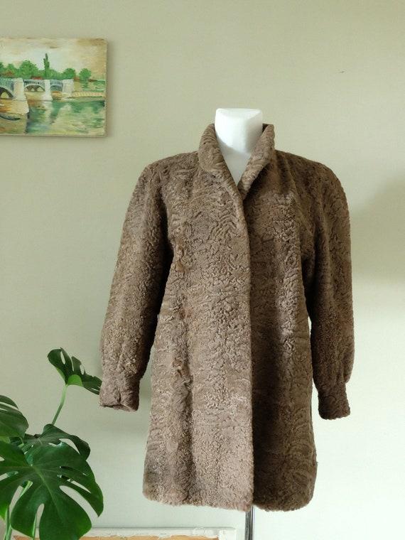 Astrakhan Coat 70s does 40s Vintage real fur Brown