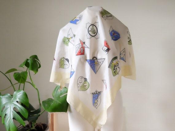 Vintage 50s scarf neck tie silk scarf Art Heraldry