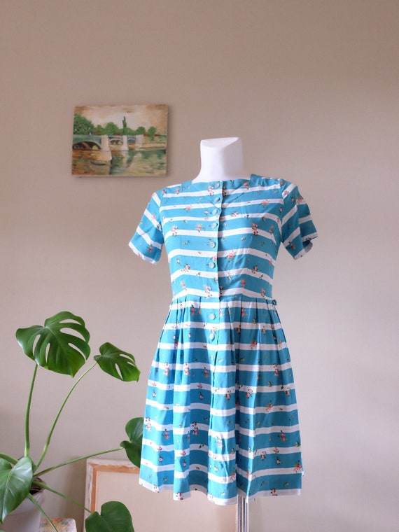 Rare St Michael Vintage 50s dress blue white strip