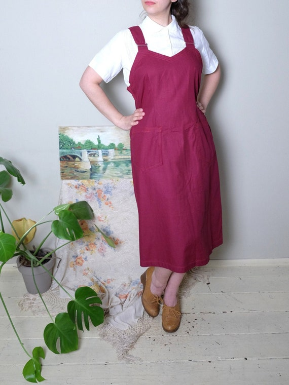 Rare OTAVAN Vintage dress 60s apron dress burgundy
