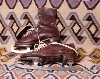 Hudora Etymon Original Vintage 1940s 1950s Brown Leather Ice Skates Old Skating Equipment