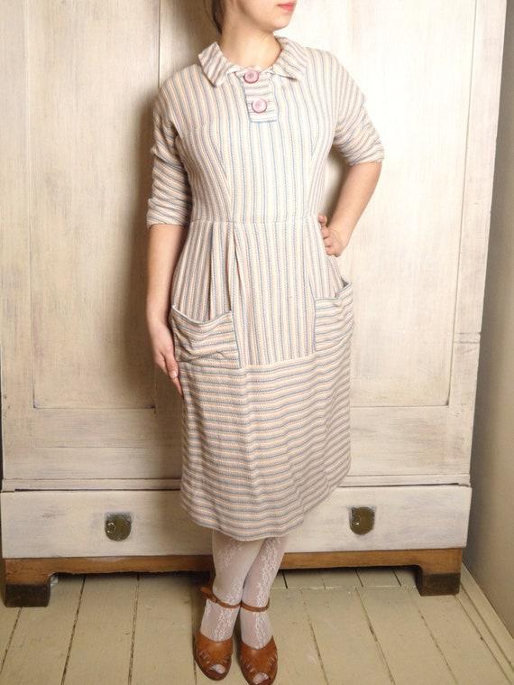 Vintage 1950s dress Striped Fall sheath dress Dolm