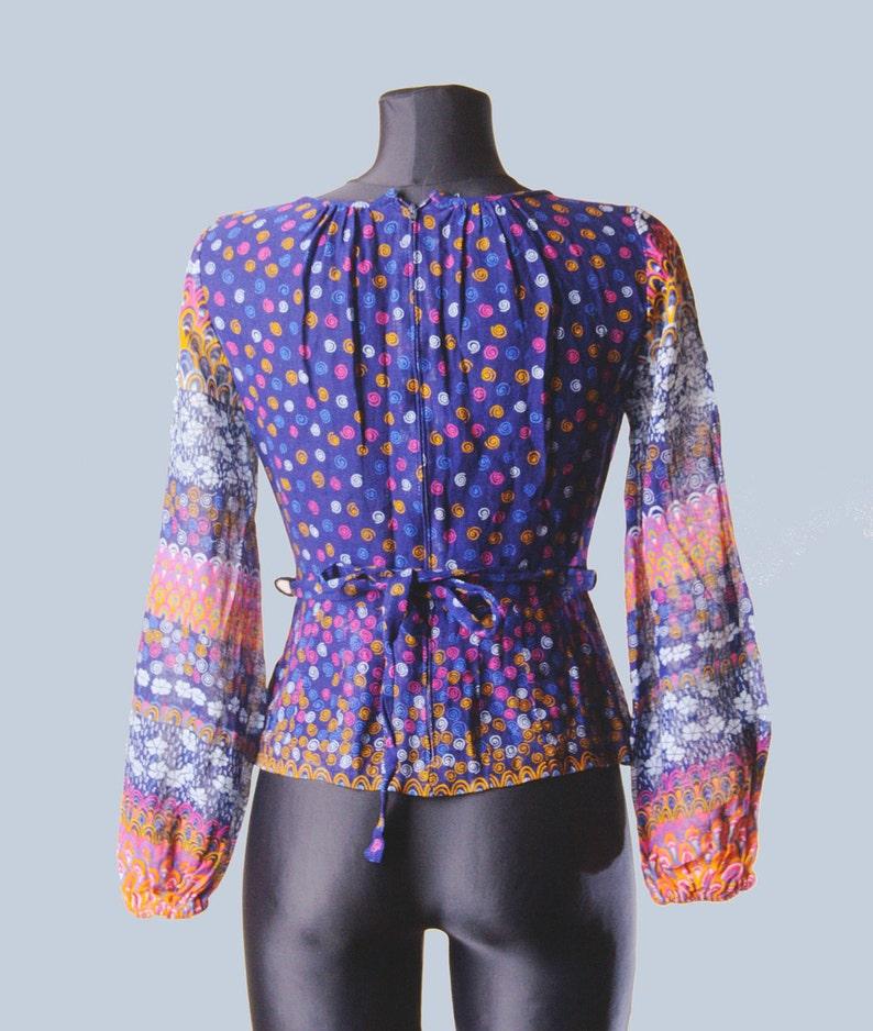 1970s blouse 70s Vintage gauze sheer blouse blue floral print hippie boho festival long sleeve transparent blouse small size  D1