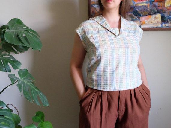Vintage 1950s blouse Pale blue green embossed Sle… - image 1