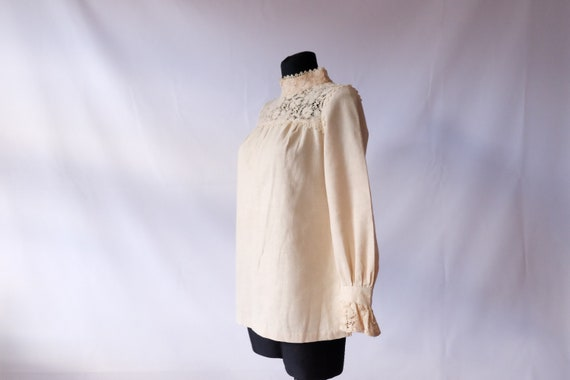 70s blouse 60s 70s Vintage Edwardian Prairie off … - image 4