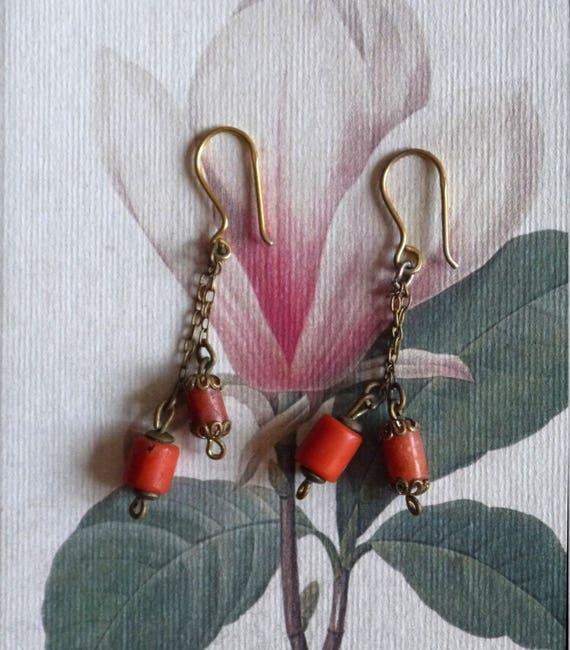 Rare Vintage earrings 1930s 1940s 1950s gold dangl