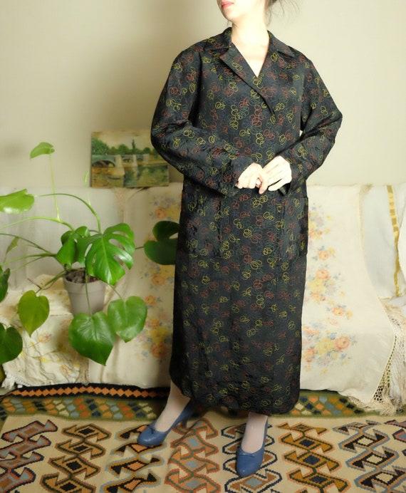 50s robe 40s 50s 60s Vintage Robe black rainbow qu