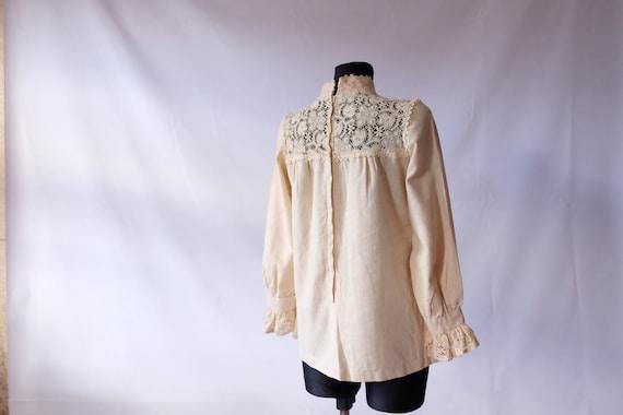 70s blouse 60s 70s Vintage Edwardian Prairie off … - image 5