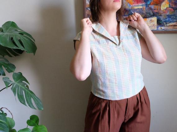 Vintage 1950s blouse Pale blue green embossed Sle… - image 6
