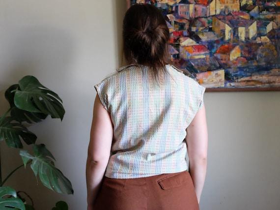 Vintage 1950s blouse Pale blue green embossed Sle… - image 4