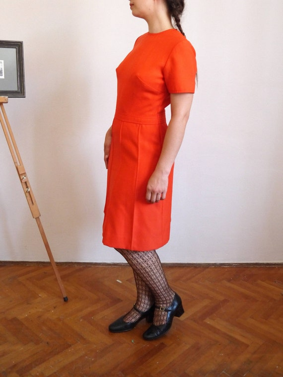 dress Dress dress size Vintage 60's Cadmium Wool Fall 70's M H1 Red dress 1960s medium wvdqZI7v