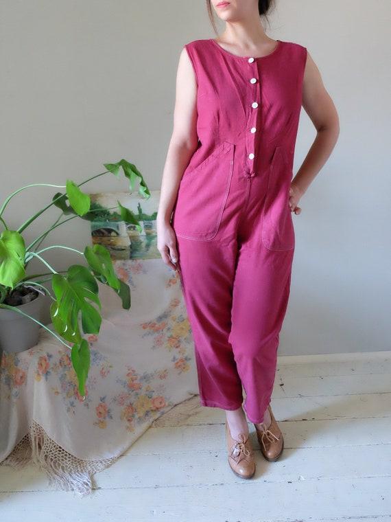50s 60s jumpsuit 60s Vintage cherry red jumpsuit s