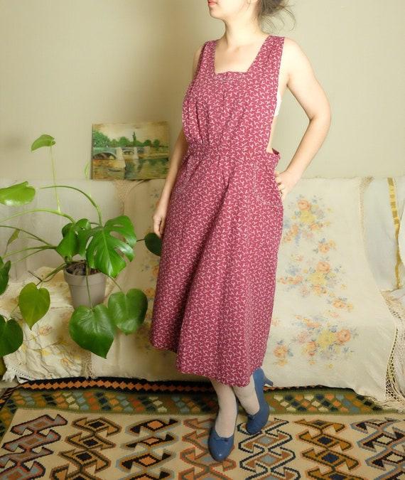 50s dress 50s 60s Vintage Apron dress burgundy pri