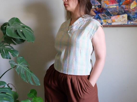 Vintage 1950s blouse Pale blue green embossed Sle… - image 2