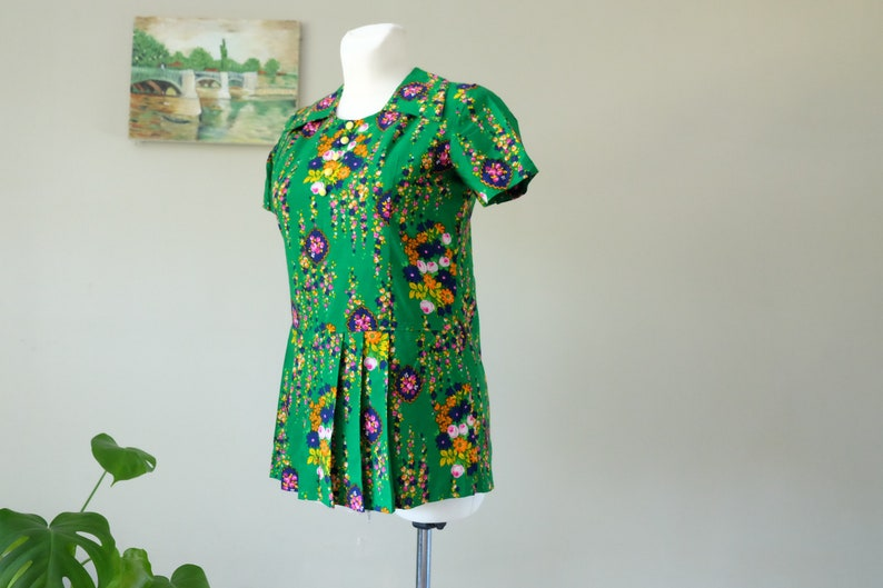 6c81fa364f 60s dress 60s Vintage dress Mini Green floral short sleeve | Etsy